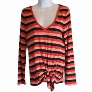 EXPRESS One Eleven Striped Tie Front Top Small